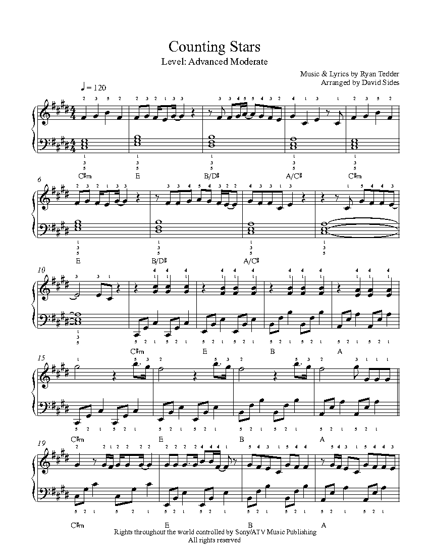 Counting Stars by One Republic Piano Sheet Music : Advanced Level
