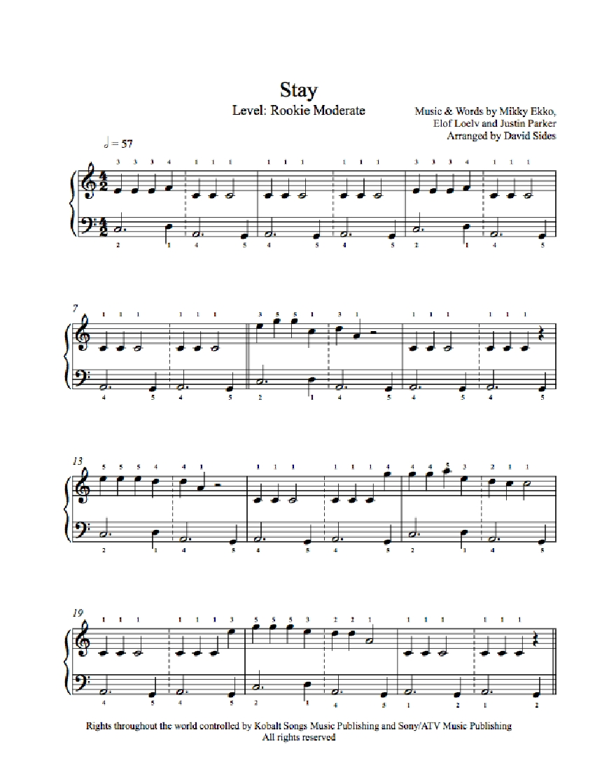 Stay by Rihanna Piano Sheet Music : Rookie Level
