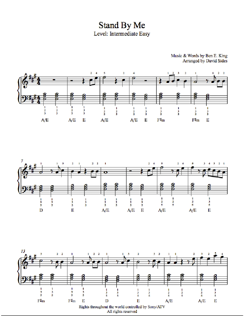 Sheet Stand by me Stand by me Piano Sheet Music